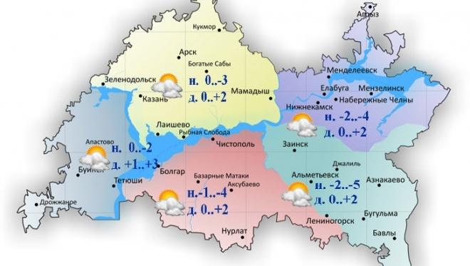 Сегодня по Татарстану ожидается плюсовая температура