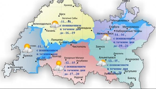 Сегодня по Татарстану ожидается понижение температуры до -20 градусов
