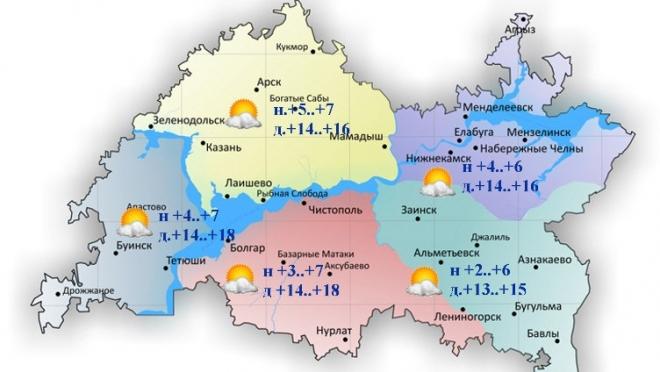 Сегодня по Татарстану ожидается переменная облачность