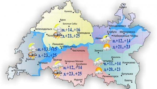 14 июля в Татарстане ожидаются повсеместные дожди
