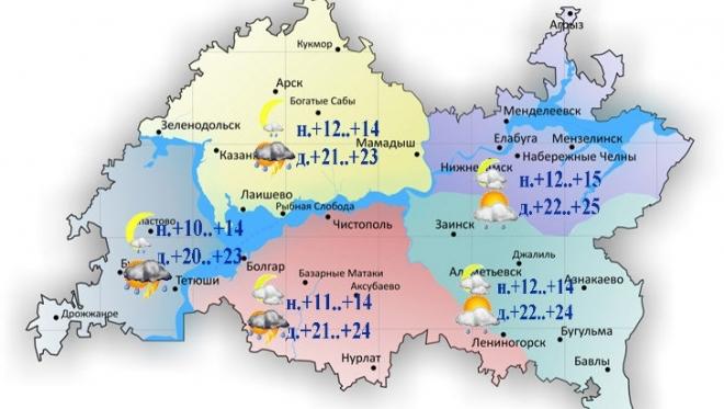 11 июля в Казани ожидается кратковременный дождь