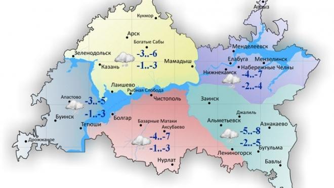 Сегодня в Татарстане ожидается облачность и осадки