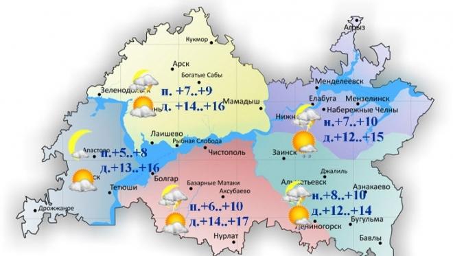 Сегодня температуры воздуха днем поднимутся до +12..+17˚