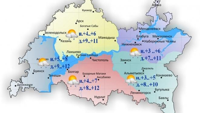 11 октября по Татарстану ожидается облачность с прояснениями