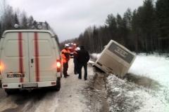 Новости  - В Татарстане из-за ледяного дождя перевернулся пассажирский автобус