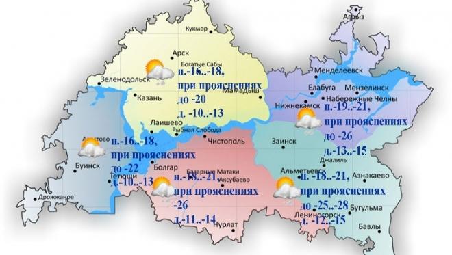 10 января в Татарстане ожидается слабый юго-западный ветер