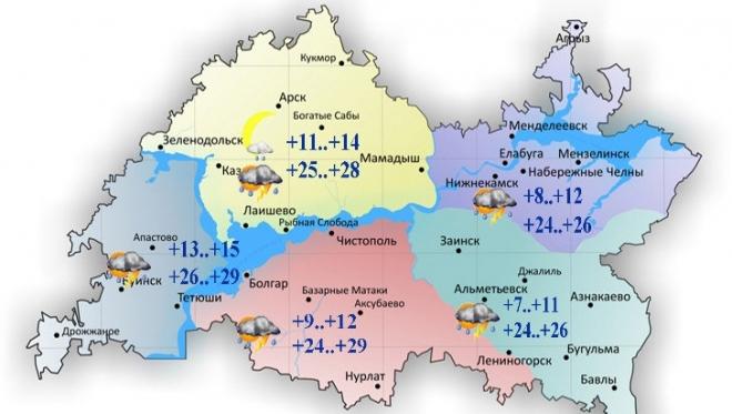 18 мая в Татарстане переменная облачность и кратковременный дождь