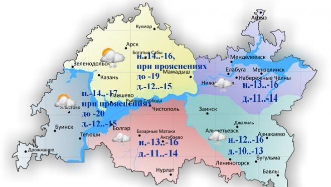 В Татарстане заметно похолодает: сегодня температуры воздуха днем составят -10..-15 градусов