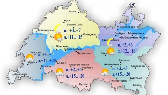 12 апреля ожидается небольшой дождь и переменная облачность по республике