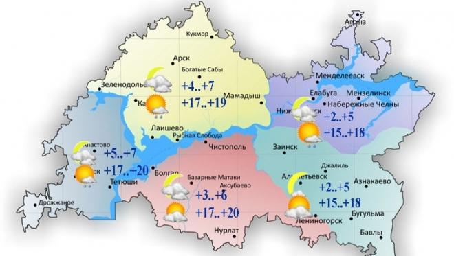 Воздух в Татарстане прогреется сегодня до 20 градусов тепла