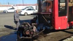 Новости  - У Казанского рейсового автобуса на ходу выпал двигатель