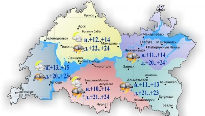 Сегодня по Татарстану ожидается кратковременный дождь