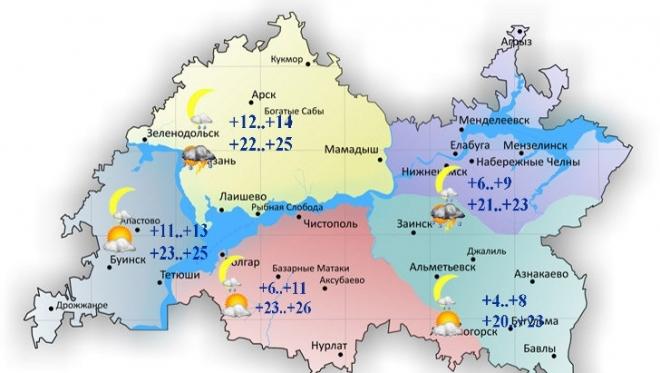 В Татарстане сегодня максимальная температура воздуха составит 26 градусов