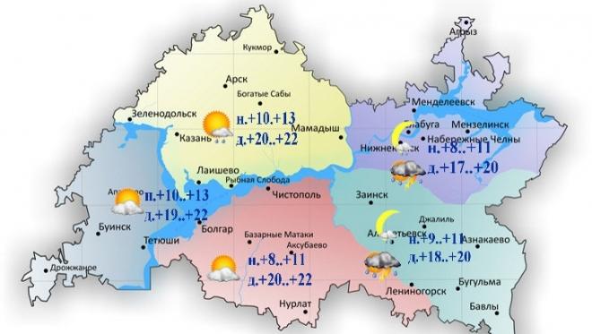 26 июня по Татарстану ожидается дождь и гроза