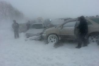 В Татарстане на федеральной трассе М-7 столкнулось 10 автомобилей