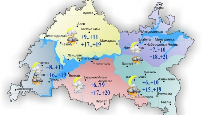 13 июня по республике ожидается дождь и облачность с прояснениями
