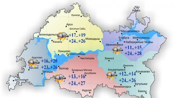 Сегодня по Татарстану переменная облачность и дожди