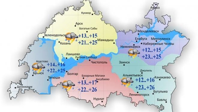 11 июля в Татарстане переменная облачность и гроза