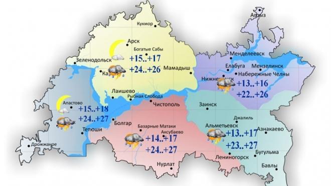 Сегодня татарстанцев ожидает переменная облачность и жаркая погода