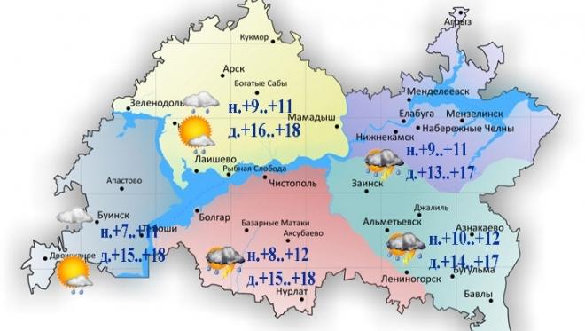 Сегодня в Казани ожидается умеренный дождь