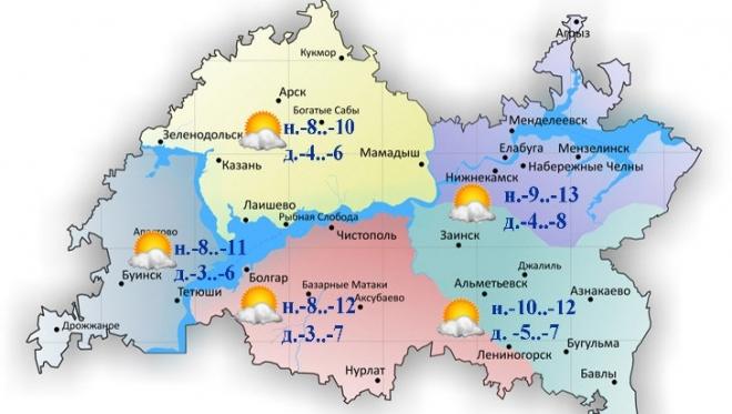 12 февраля по Татарстану без существенных осадков