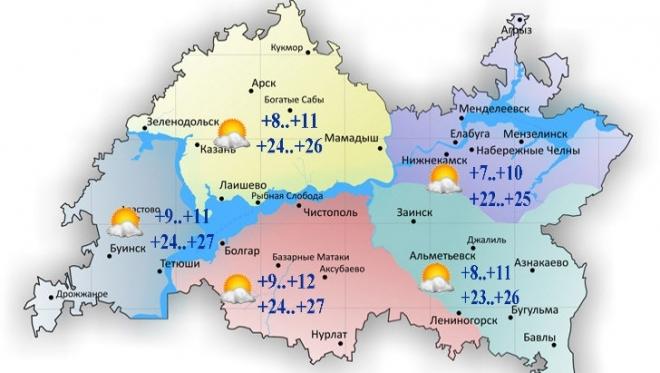 Сегодня воздух по республике прогреется до 27 градусов