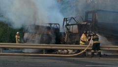 Новости  - На трассе М-7 столкнулись и загорелись фуры