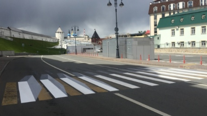 На улице Батурина в Казани появилась необычная разметка