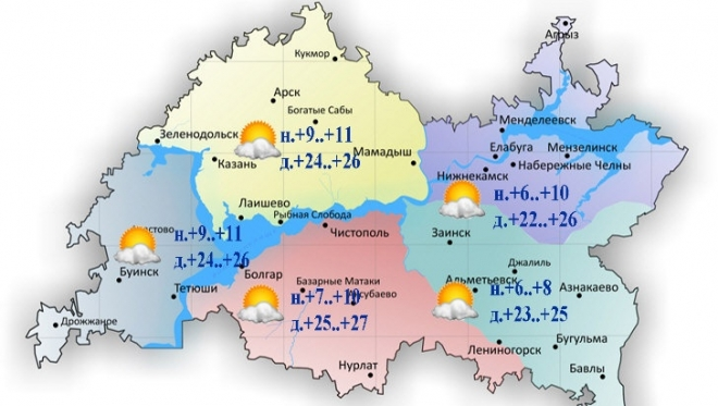 Сегодня воздух в Татарстане прогреется до 27 градусов