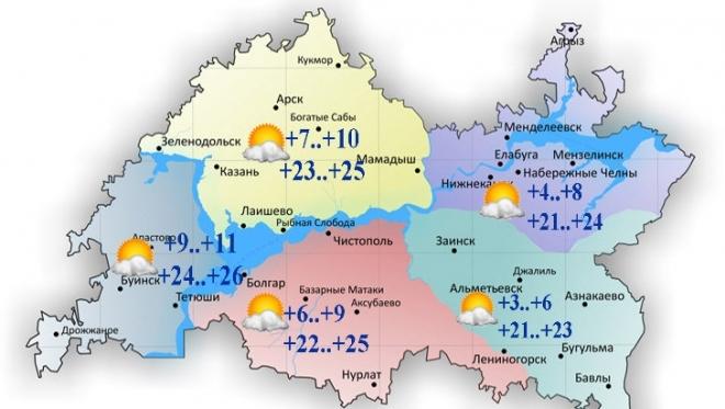Воздух в Татарстане прогреется сегодня до 26 градусов
