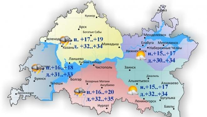 Сегодня температуры воздуха днем по Татарстану составят +30..+35˚